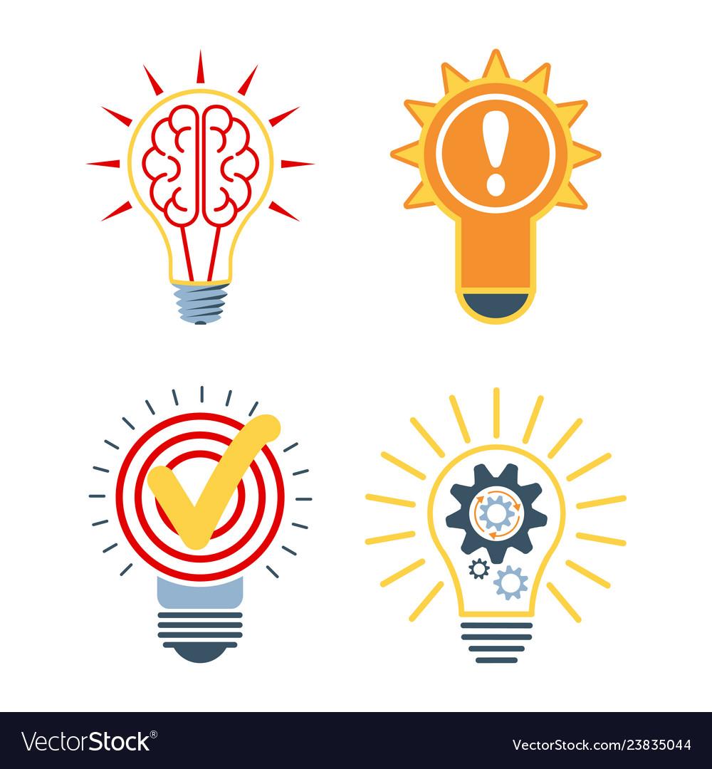 Ideas bulb icons brainstorm symbol innovative