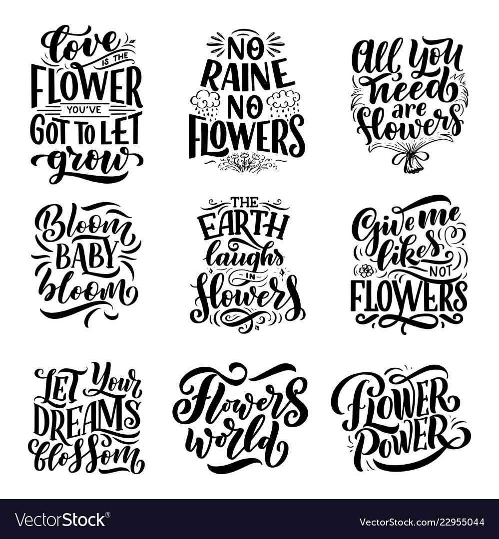 Lettering Quotes About Flowers Made Royalty Free Vector