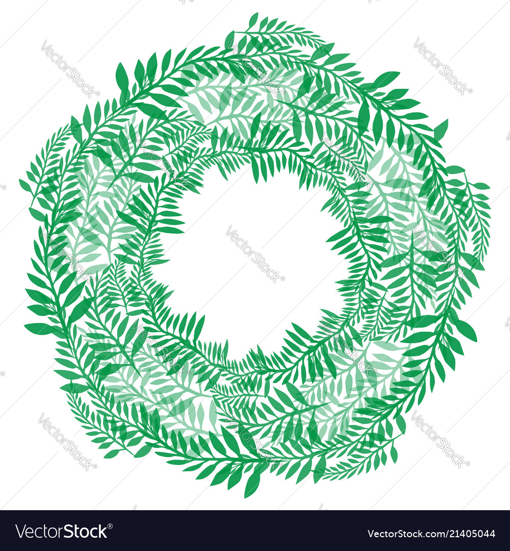 Round wreath of green branches frame of fern