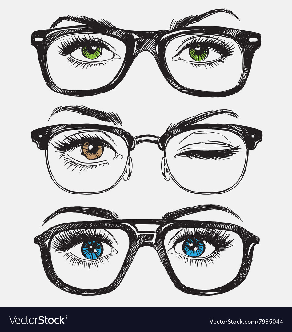 Set hand drawn womens eyes with glasses