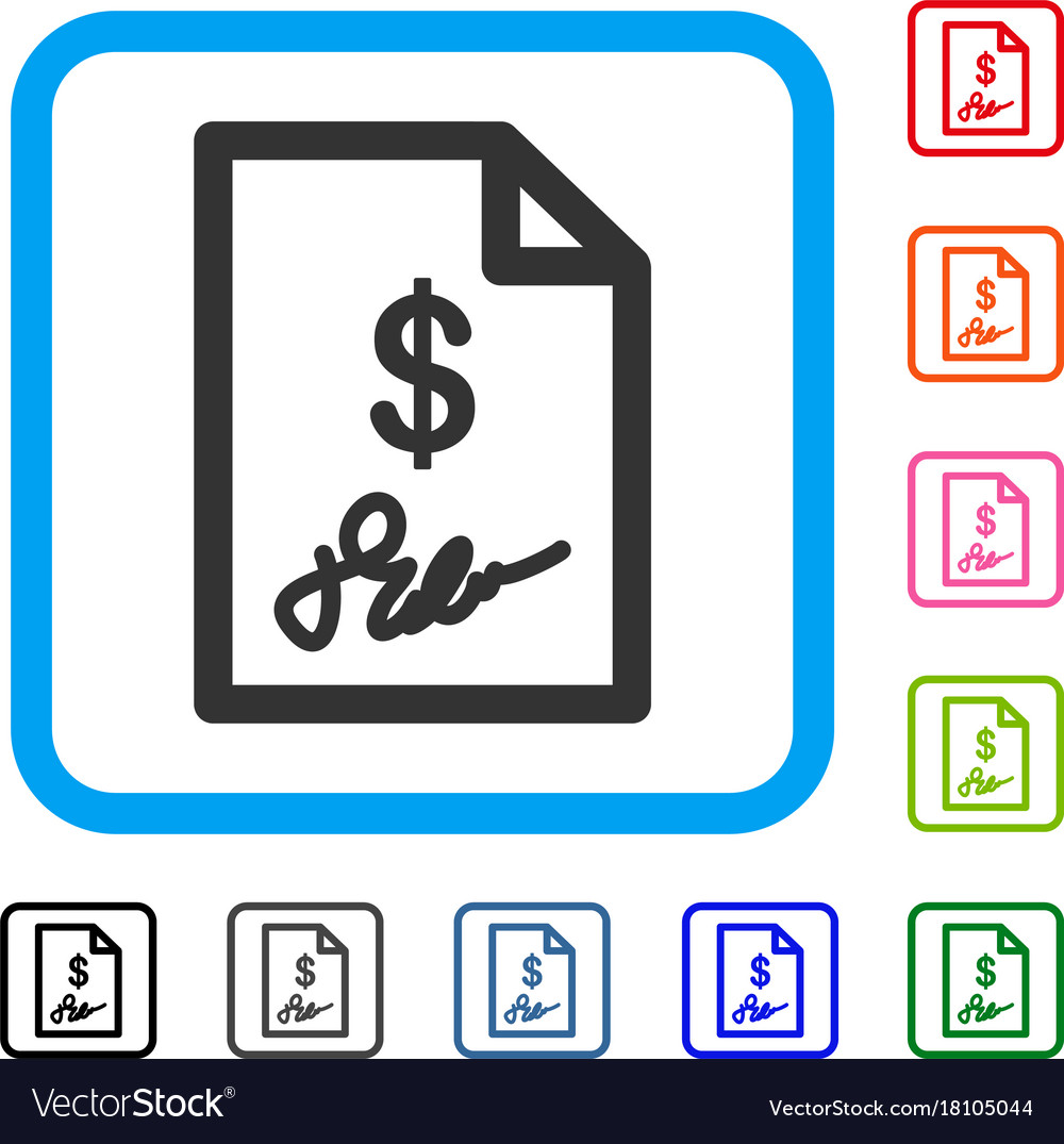 Signed invoice framed icon Royalty Free Vector Image