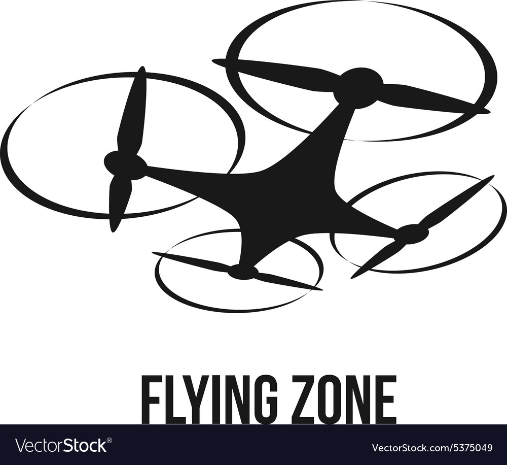 Flying quadcopter drone logo