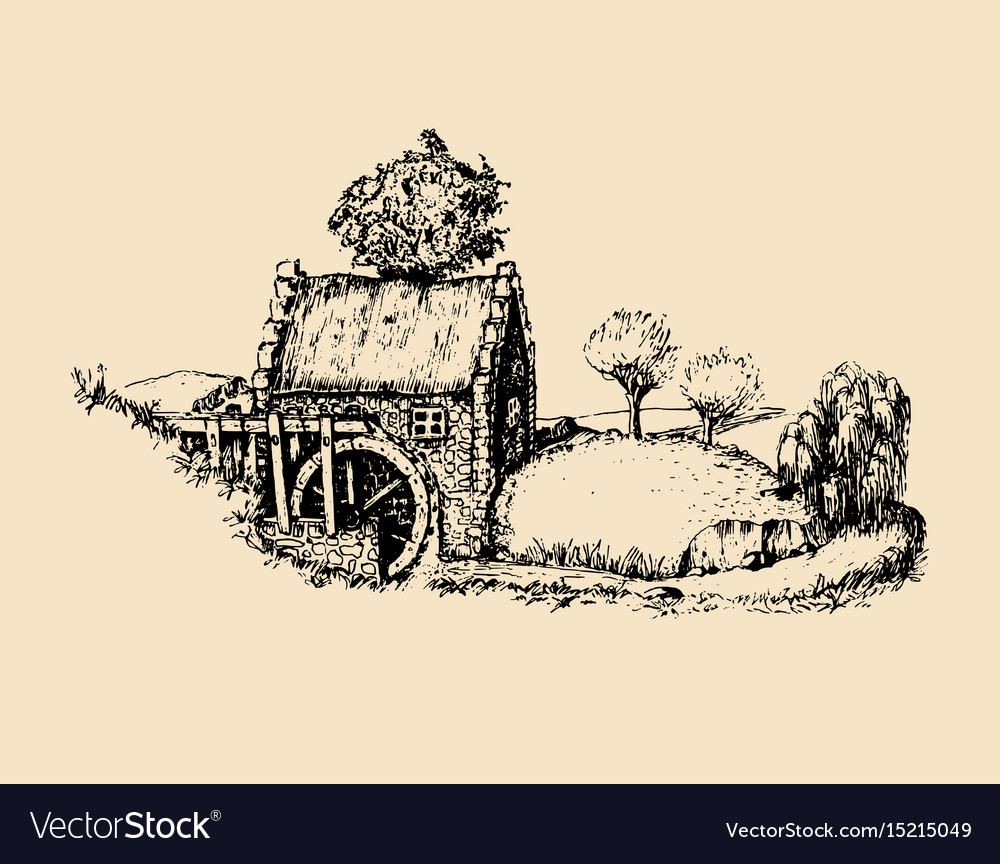 Hand sketched of old rustic water mill