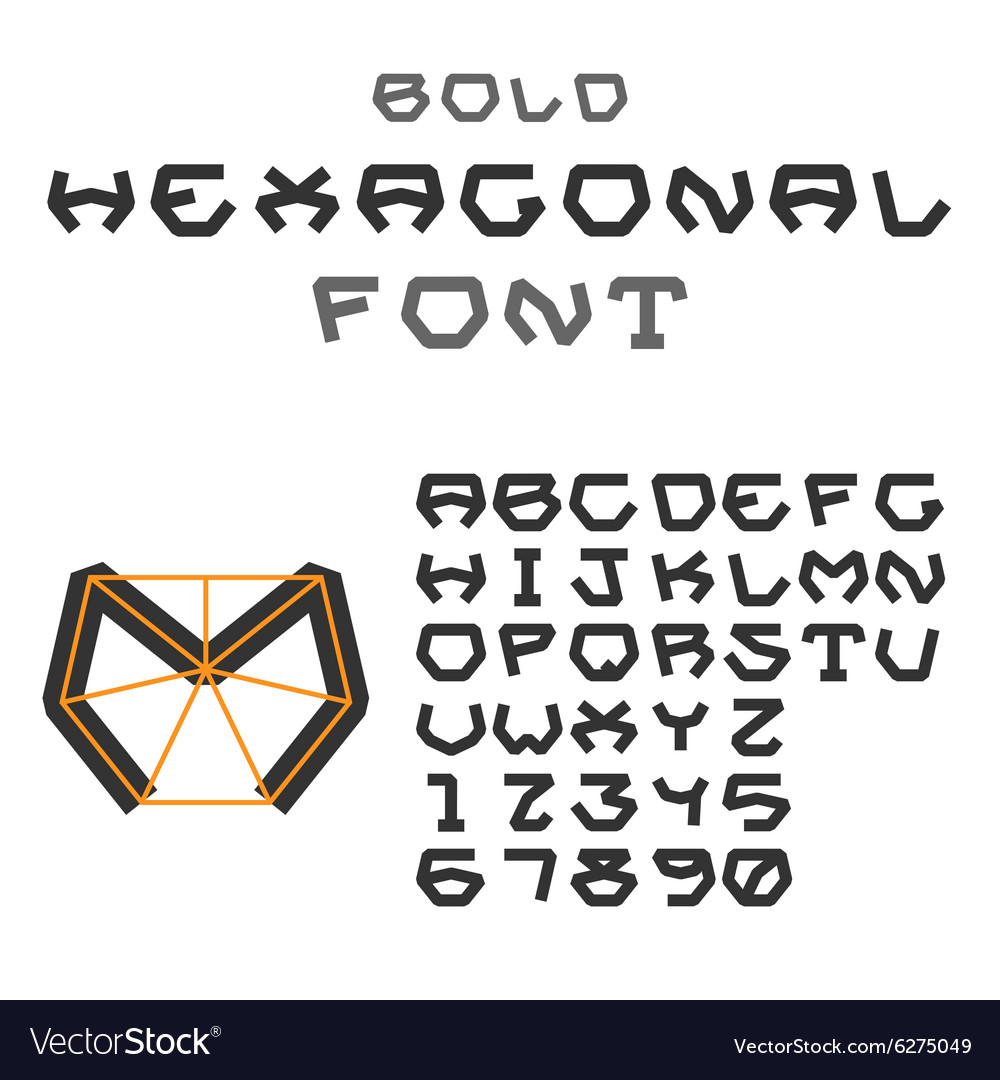 Hexagonal ABC Geometric Font Letters and Digits