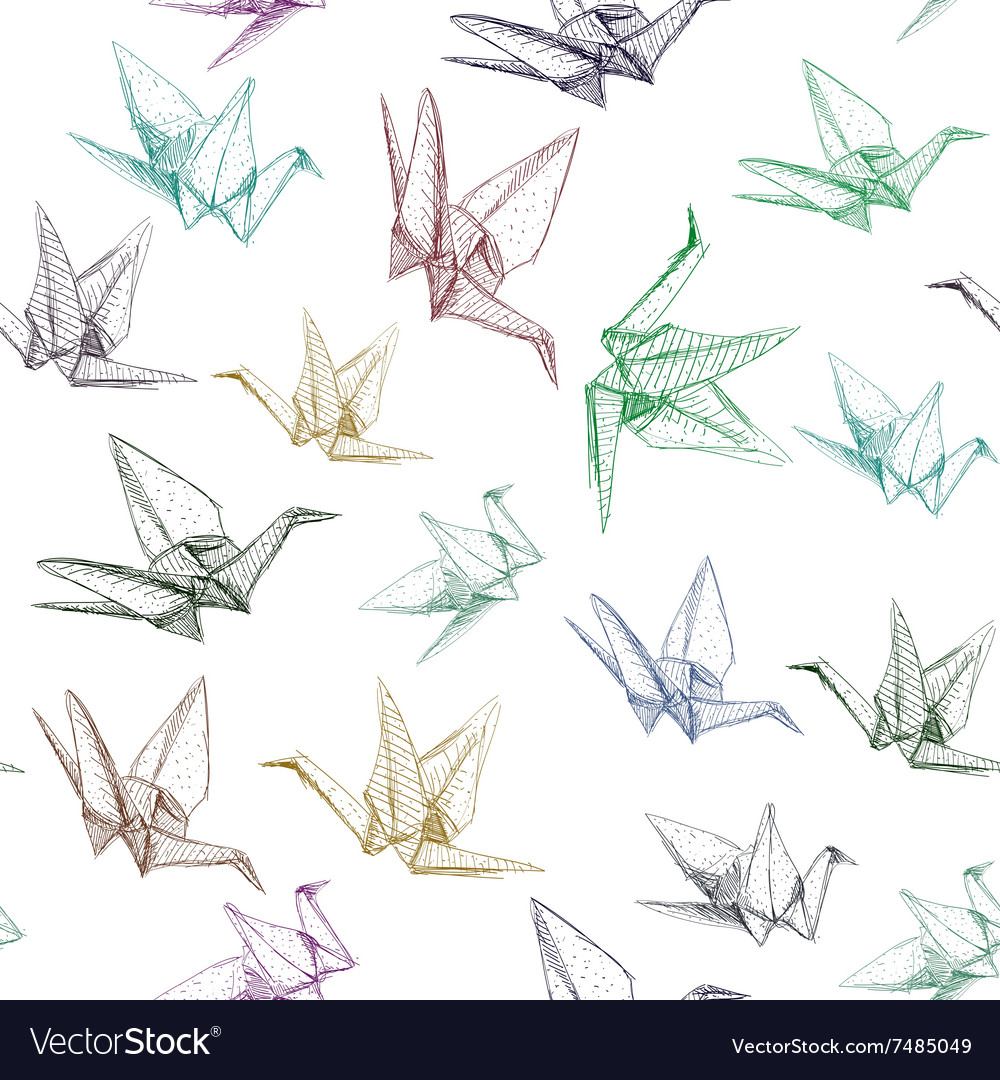 Japanese Origami paper cranes symbol of happiness