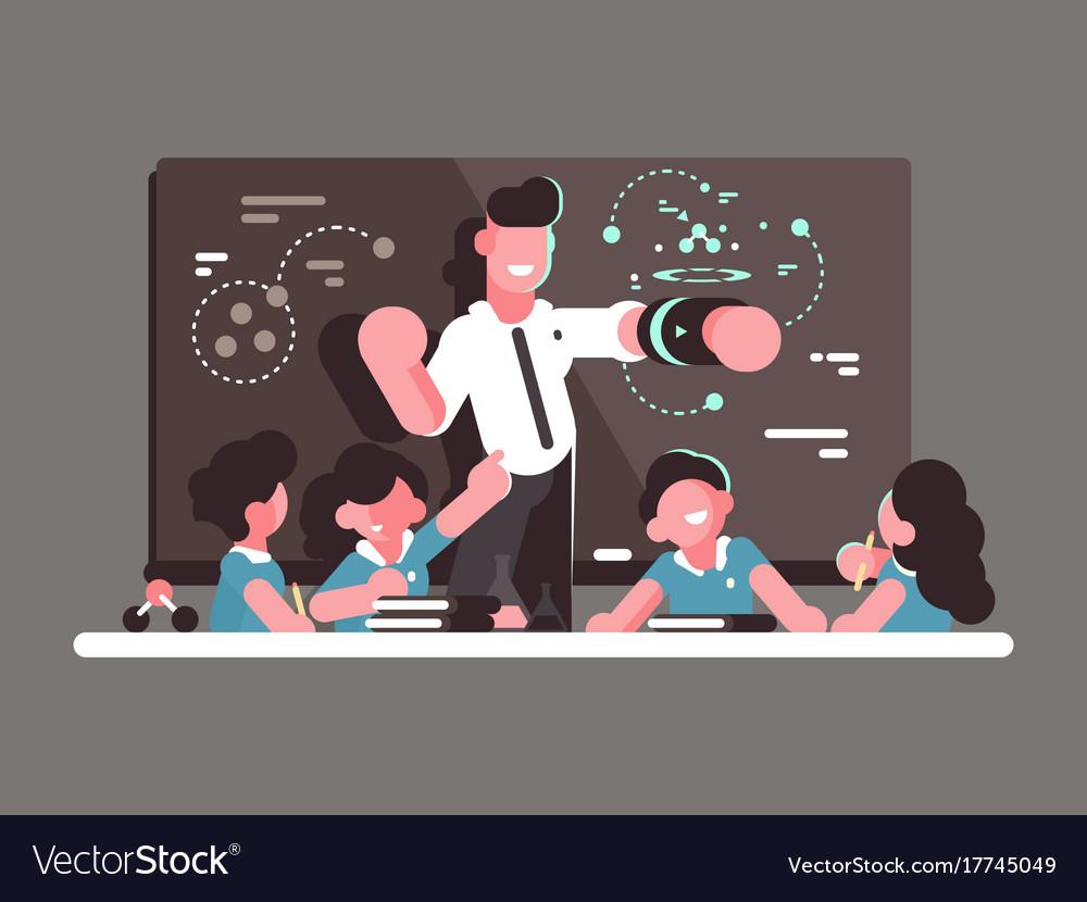School teacher at lesson vector image