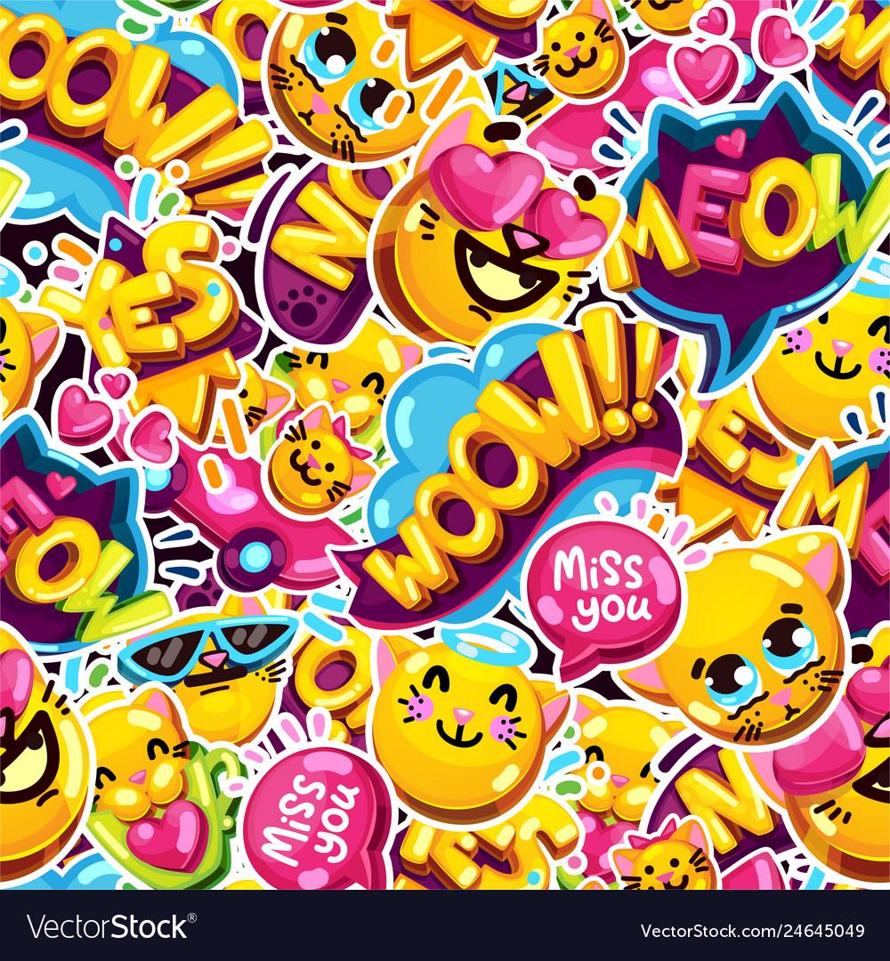 Seamless pattern emoji cat