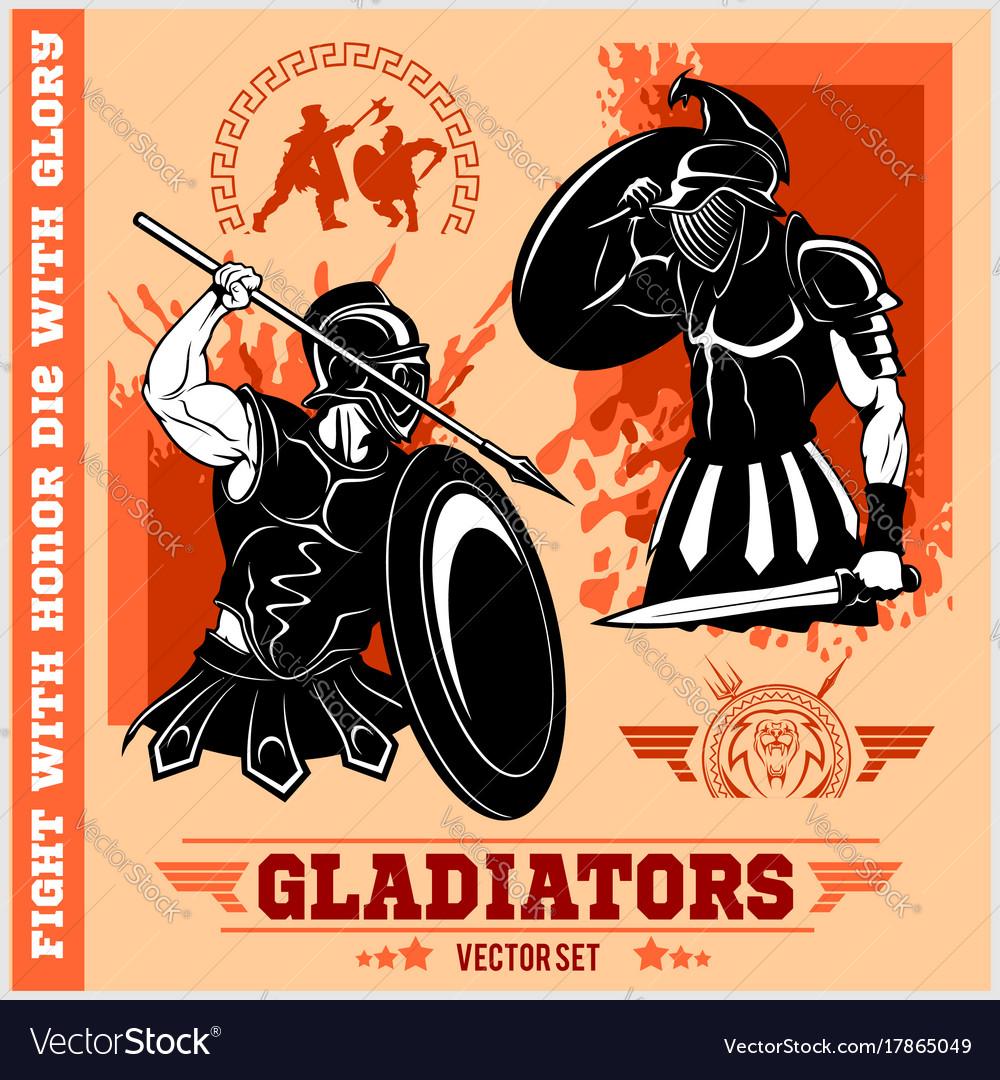 Set of gladiators on red background
