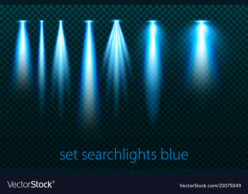 Set of neon searchlights on a transparent