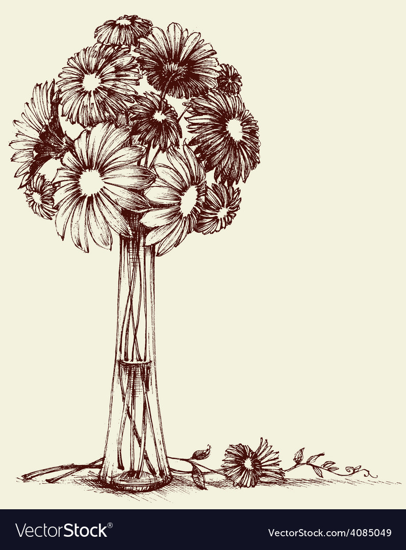 Vase Of Flowers Wedding Bouquet Sketch Retro Style
