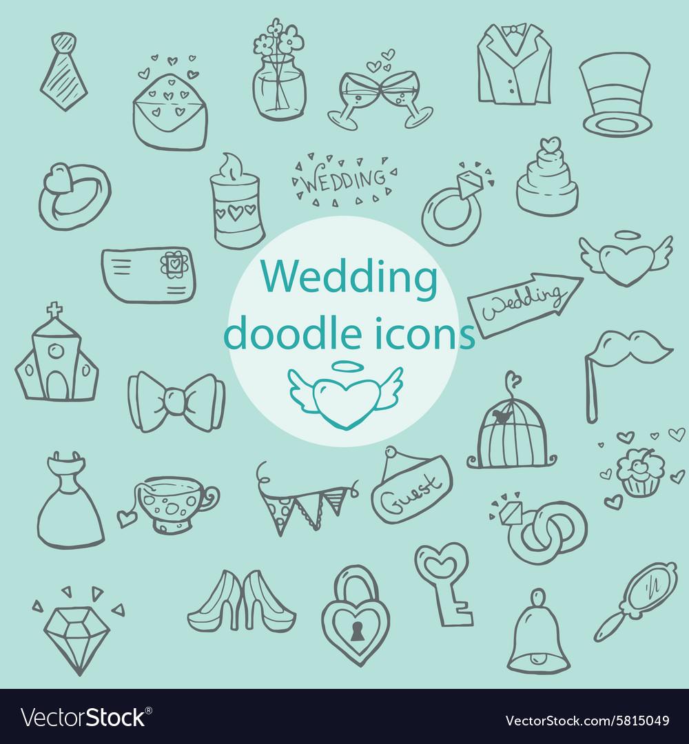 Wedding - doodle icons vector image