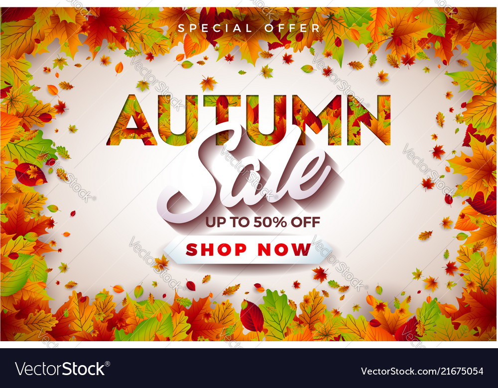 Autumn sale design with falling leaves and