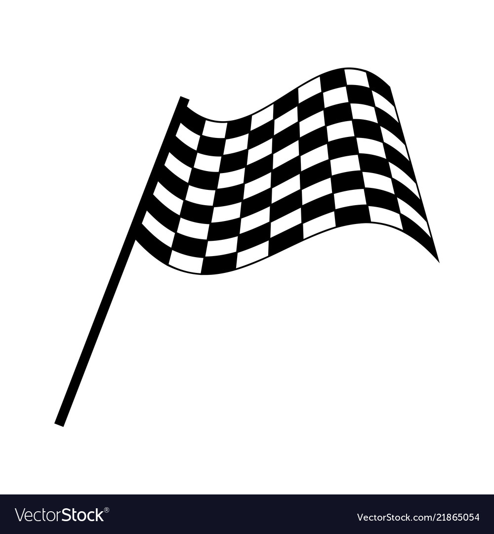 Checkered race flag isolated on white background