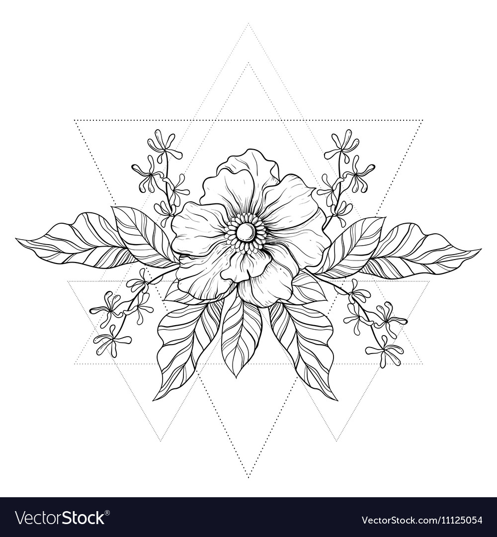 acc1249f290a8 Hand drawn boho tattoo Blackwork flower in hipster vector image