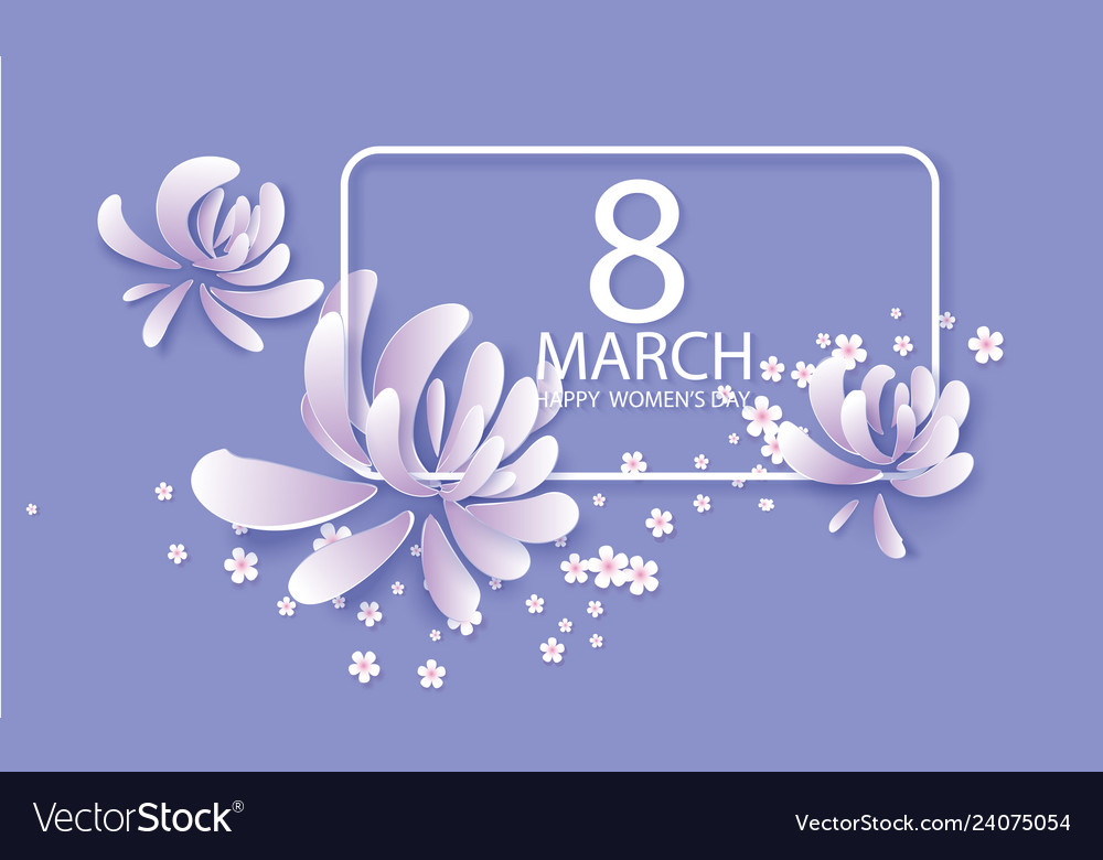 Happy womens day 8 march card in purple colors