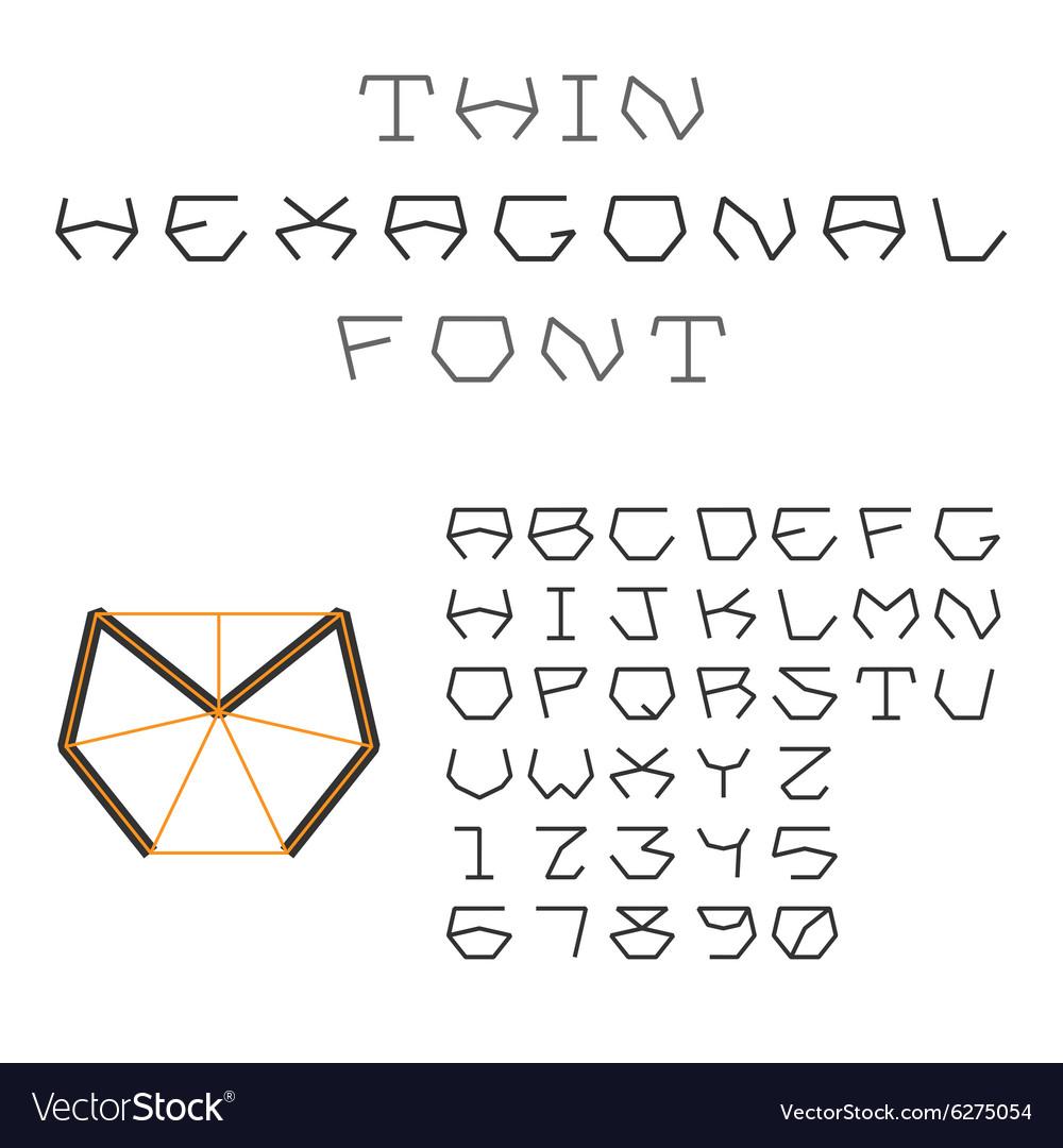 Hexagonal ABC Geometric Font Letters and Digits