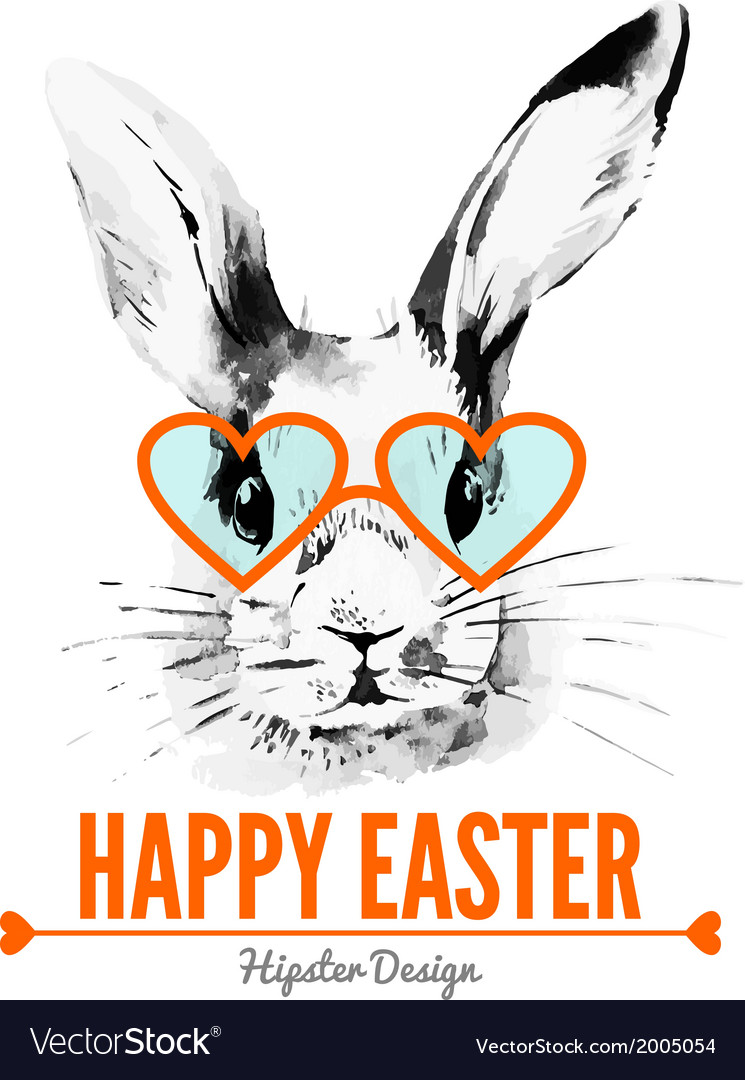 Hipster Easter rabbit Card