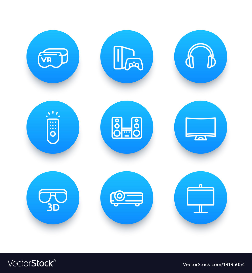 Home entertainment system linear blue icons set