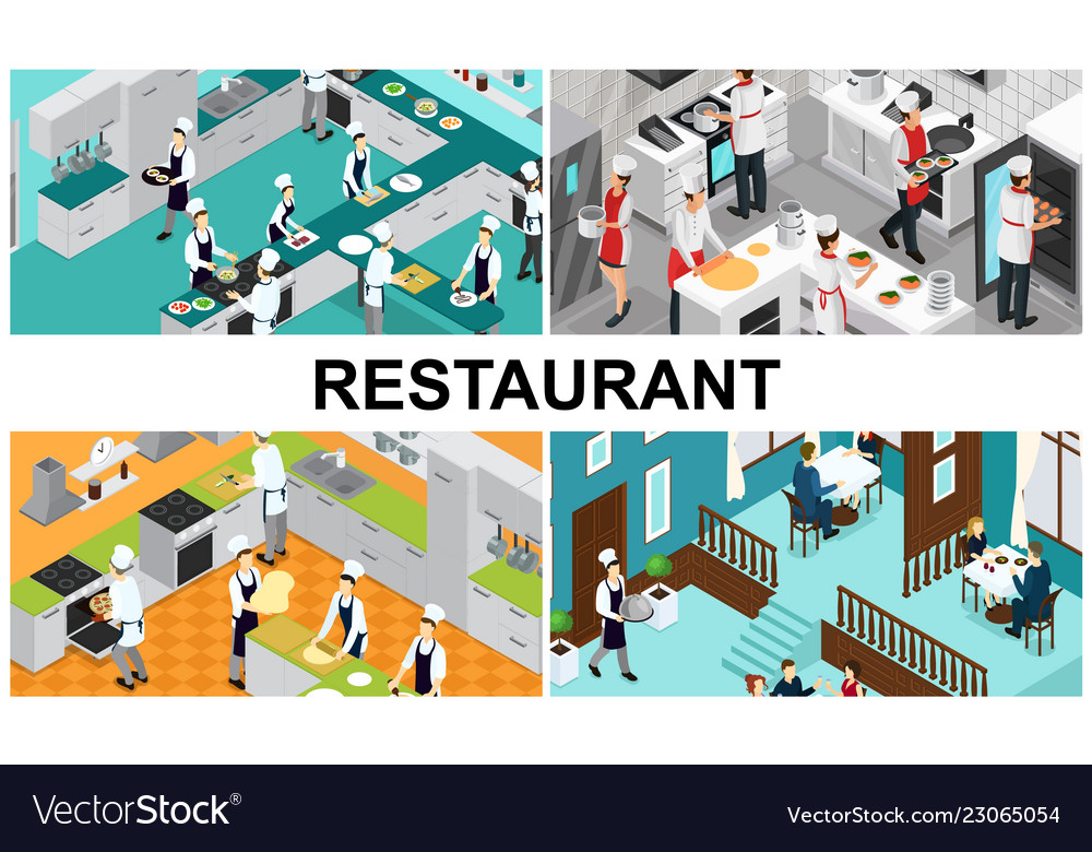 Isometric restaurant cooking composition