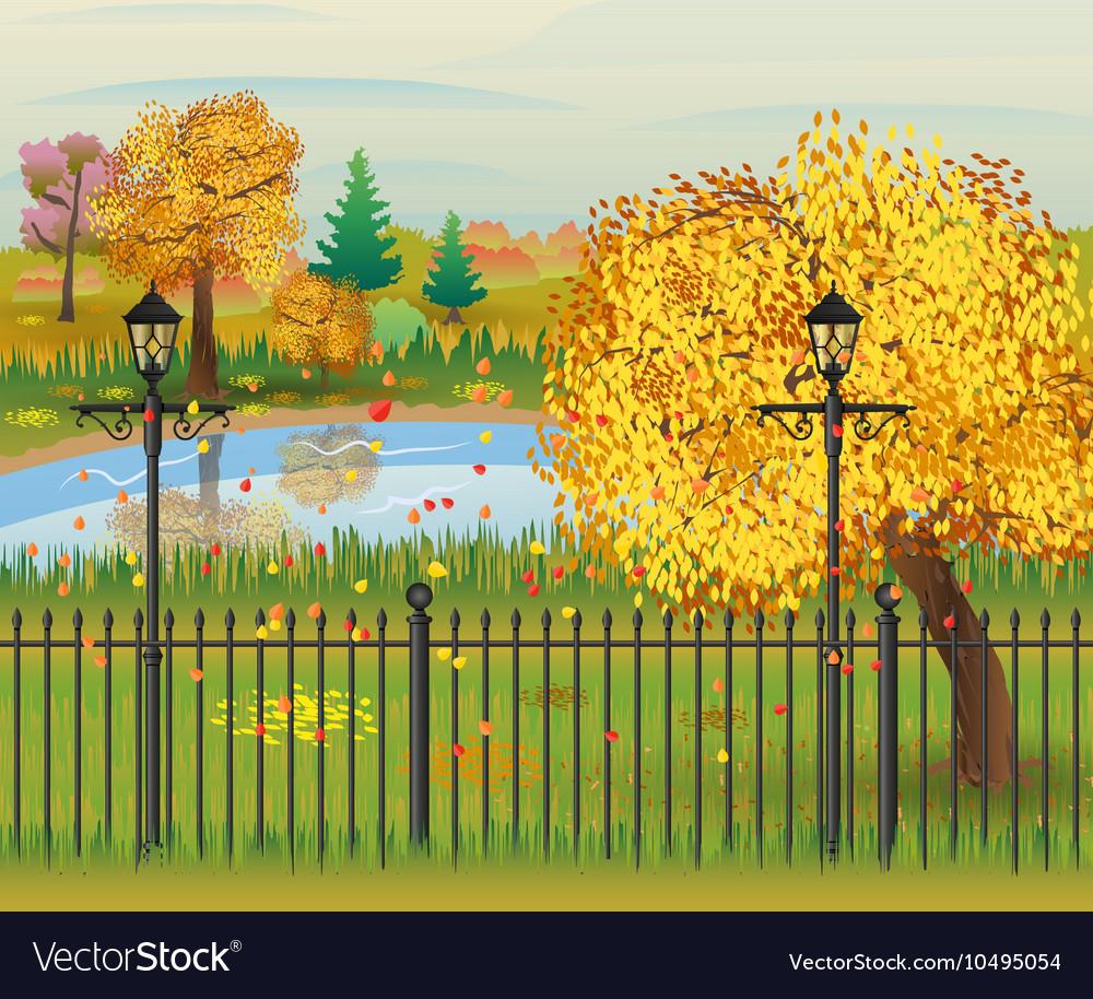Landscape of autumn city Park