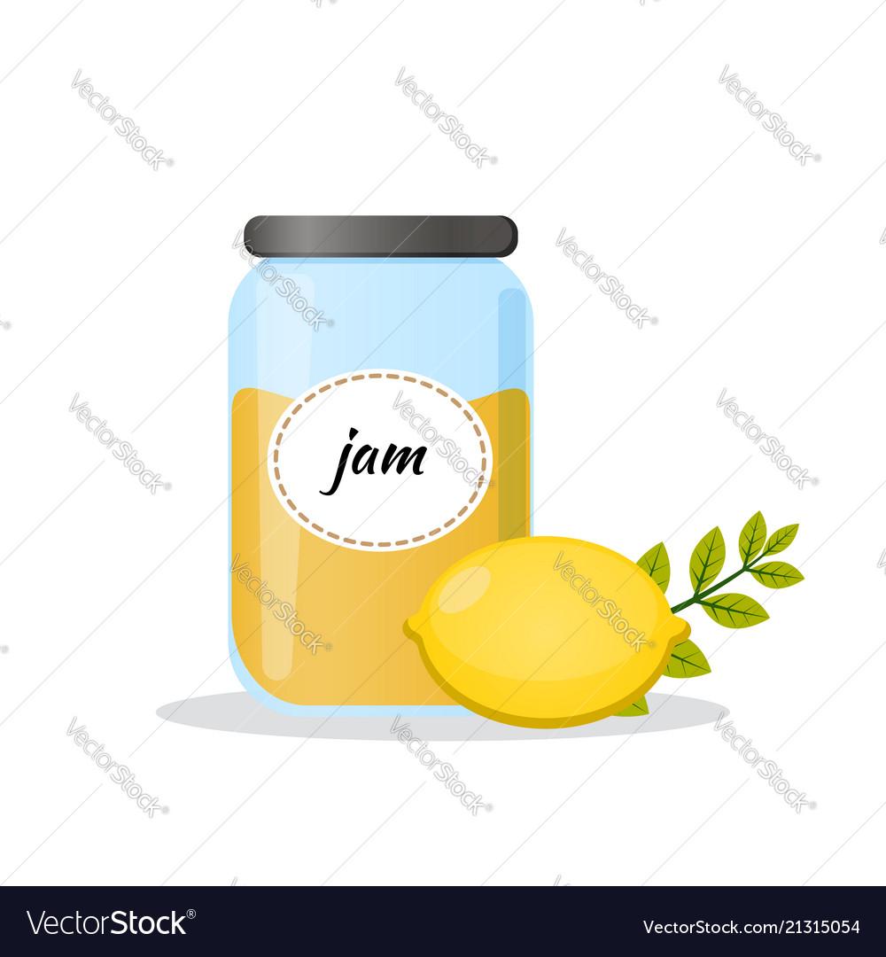 Lemon jam in transparent jar isolated flat icon
