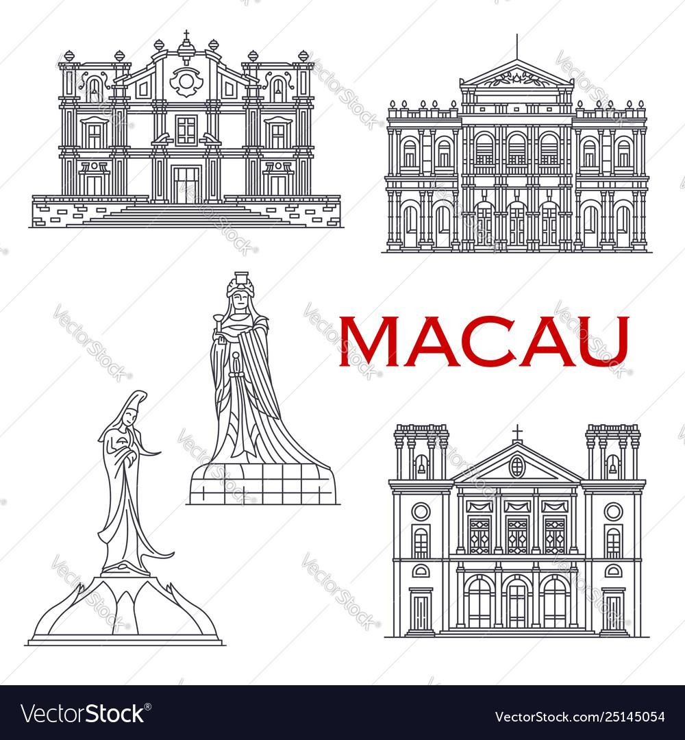 Macau landmark buildings architecture line facades