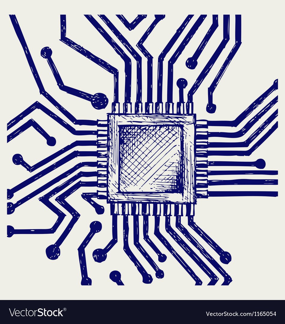 Motherboard with microchip vector image