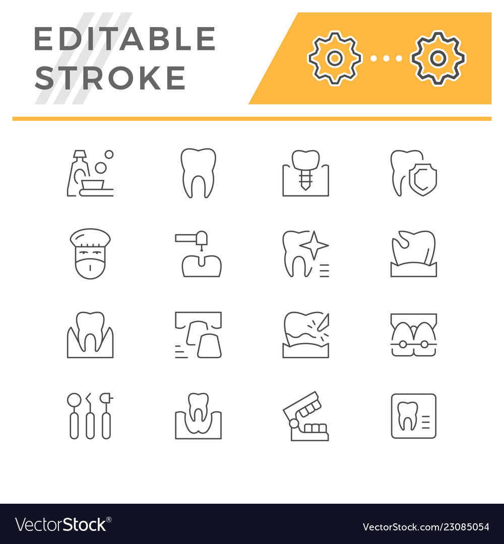 Set of dental related line icons