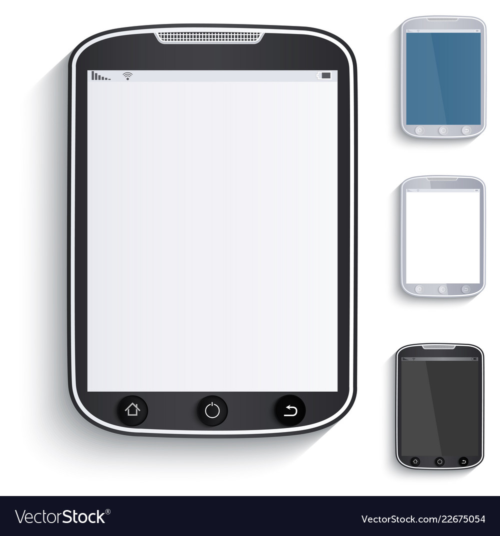 Set of tablets touchscreen phones paper style