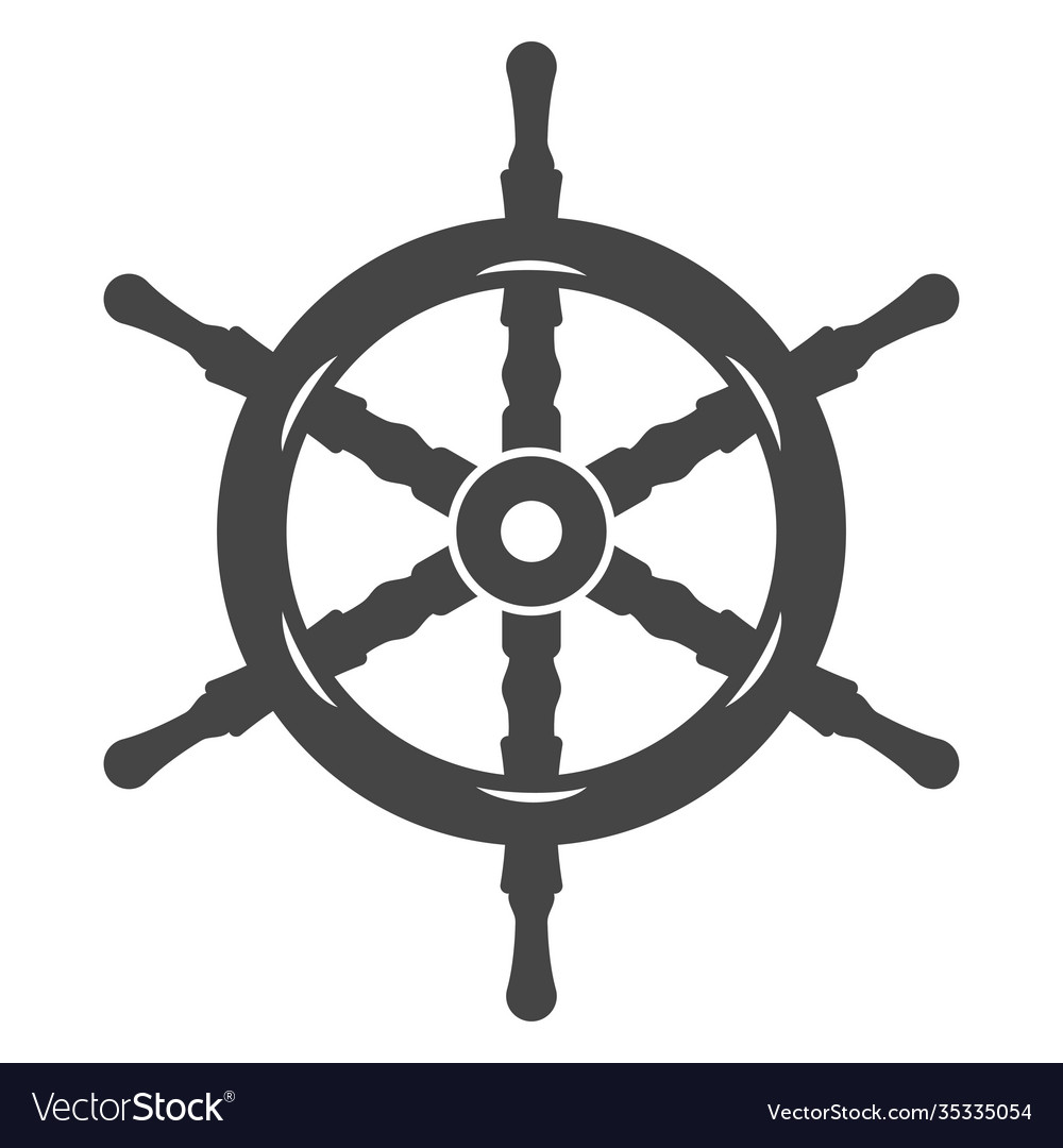 Ship wheel black icon nautical and sea equipment