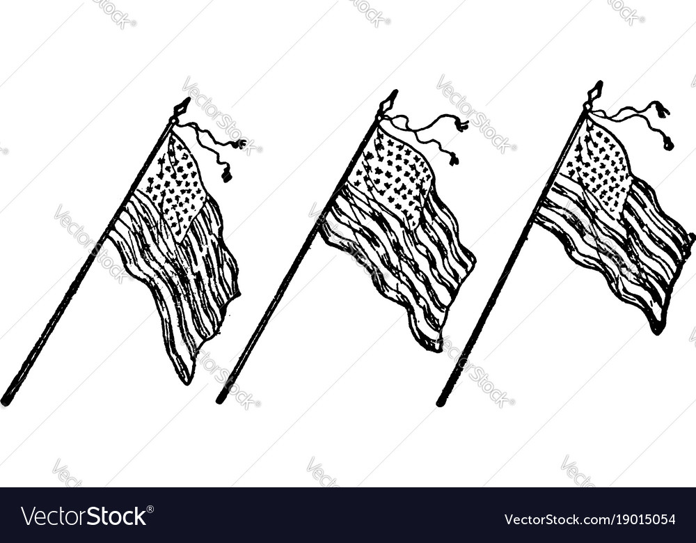 Three american flags vintage