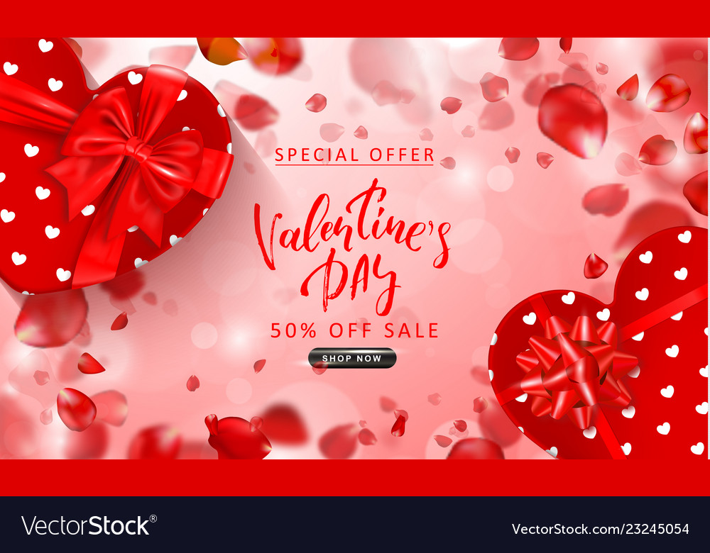 Valentine s day sale background top view on