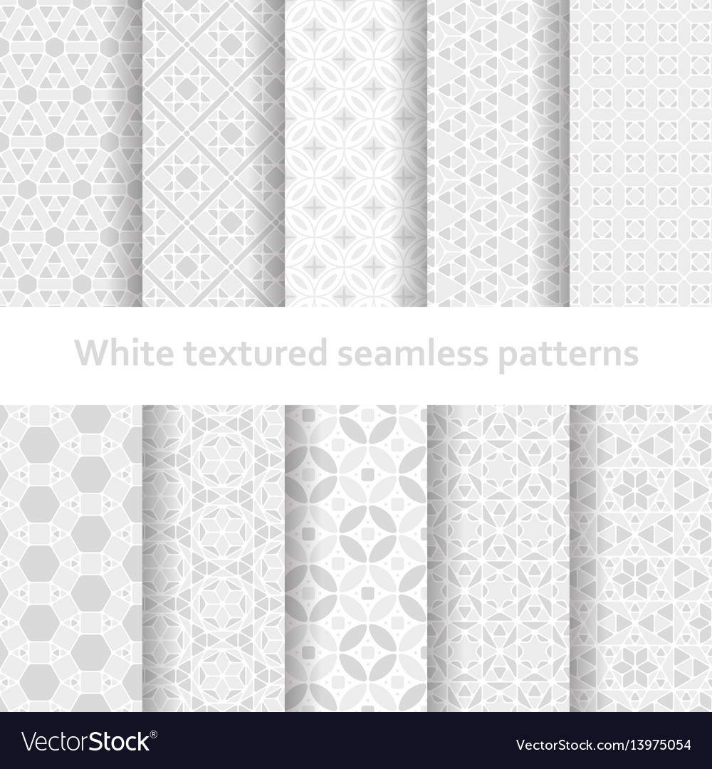 White textured seamless patterns set
