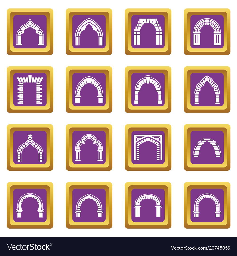 Arch types icons set purple square
