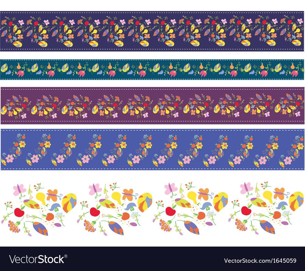 Autumn borders design set with flowers