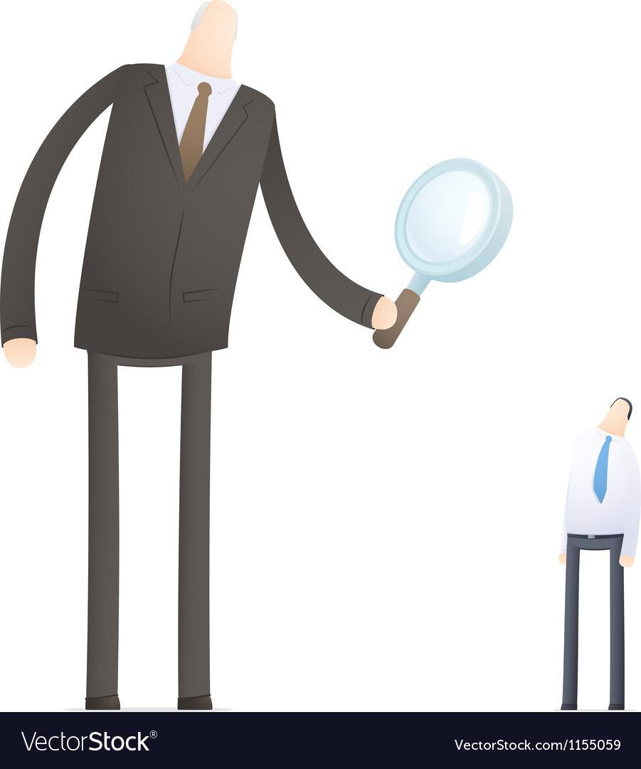 Boss examines its employee vector image