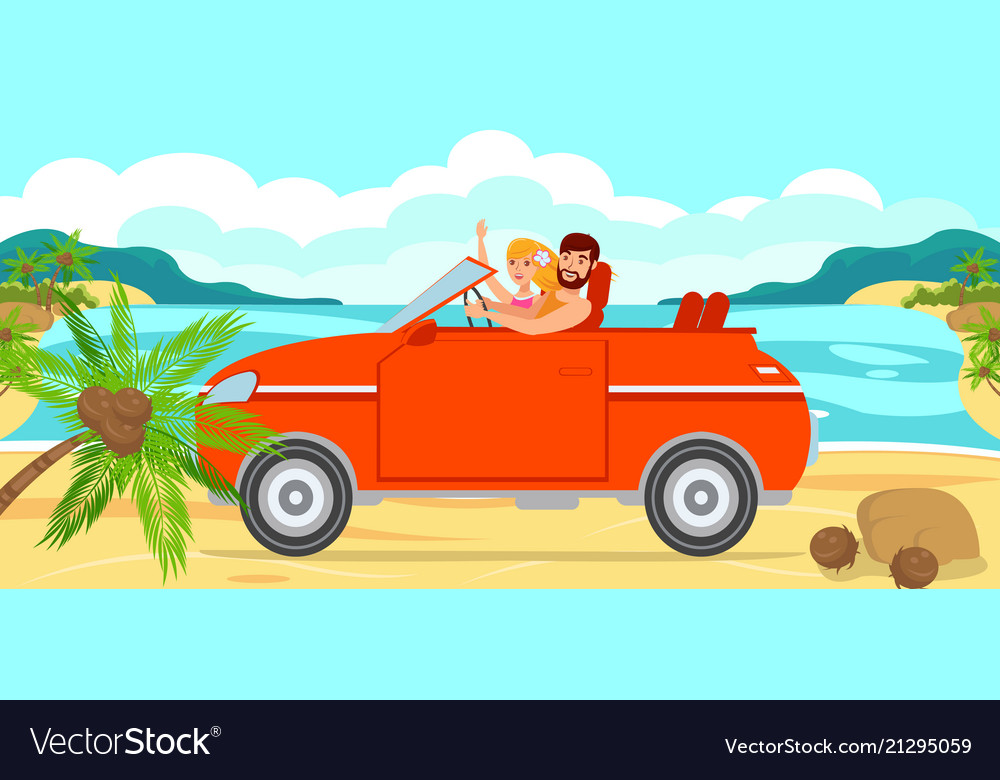 Boy and girl travel by car to sea