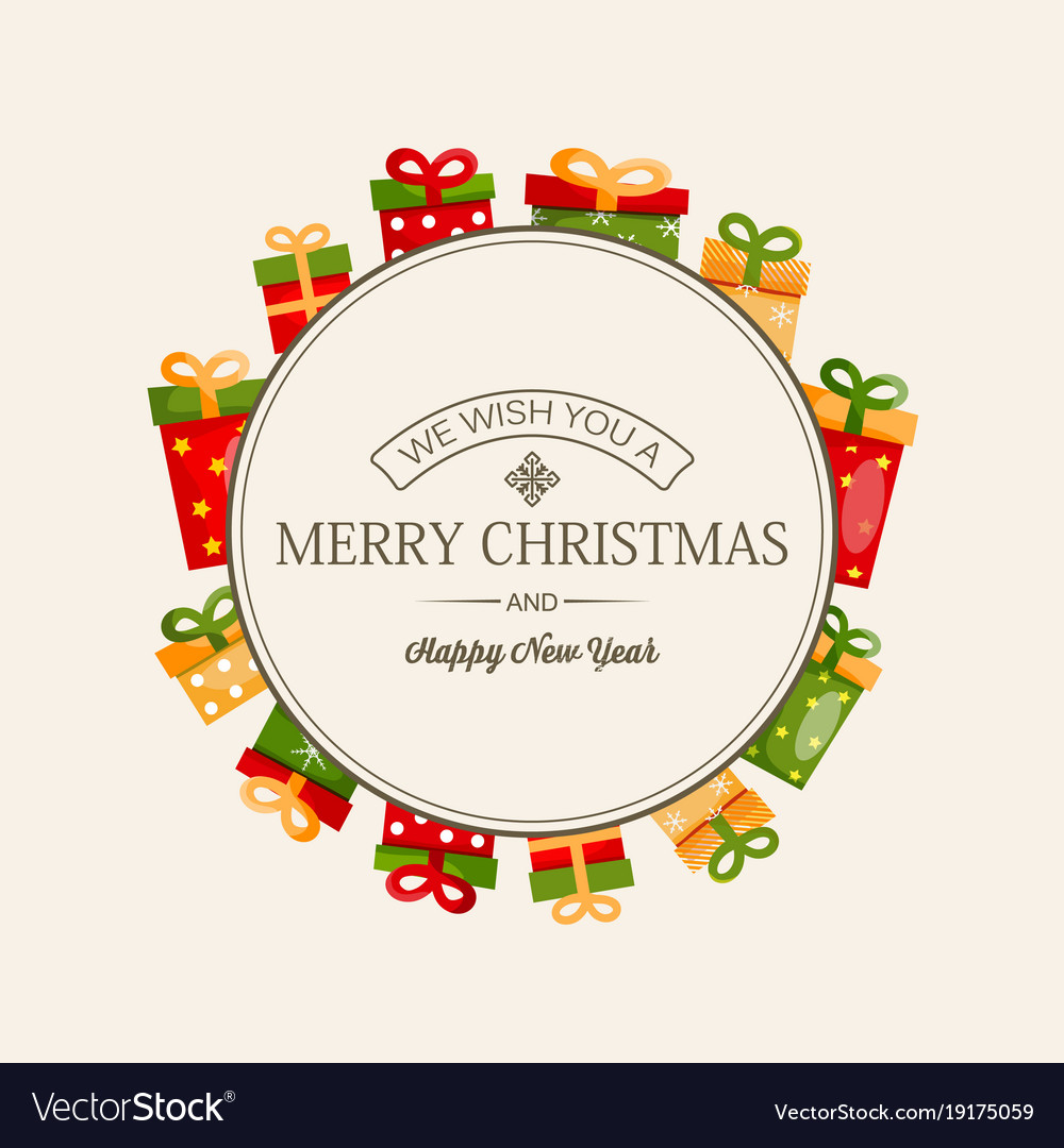 Celebrating Christmas Greeting Template Royalty Free Vector