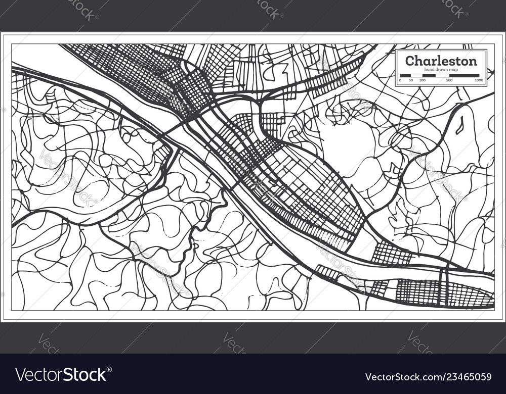 Charleston Usa City Map In Retro Style Outline Map