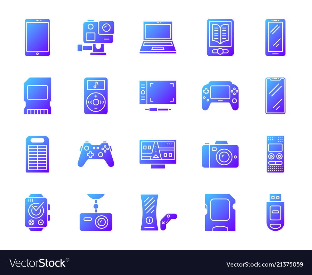 Device simple gradient icons set