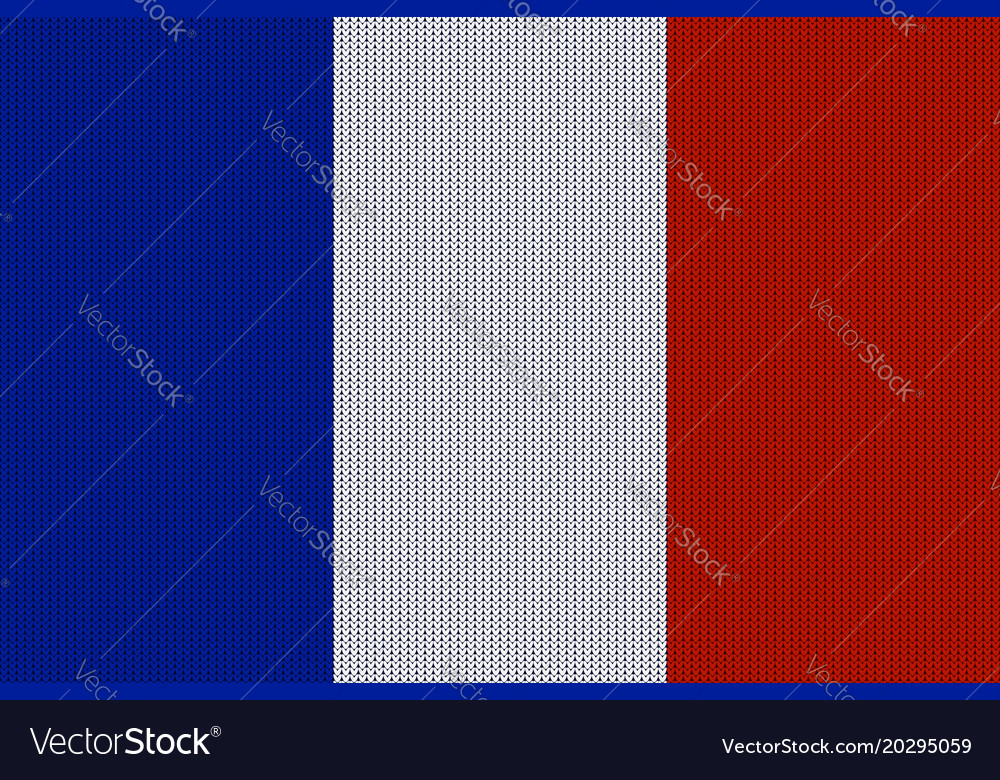 Flag of france on knitted woolen texture vector image