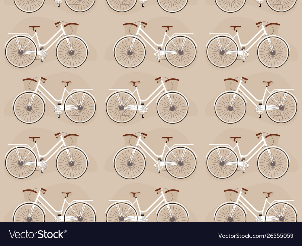 Flat bicycles seamless pattern on color backdrop