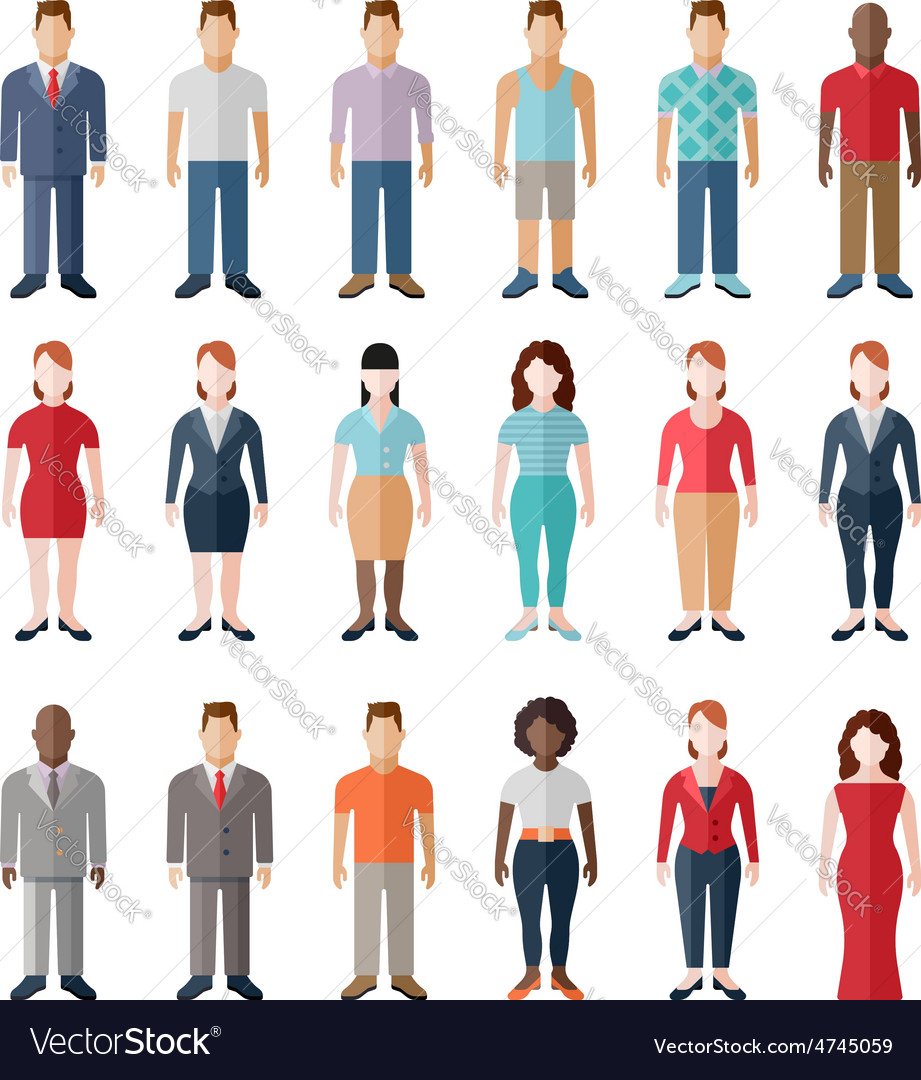 Flat style modern people in casual clothes icons