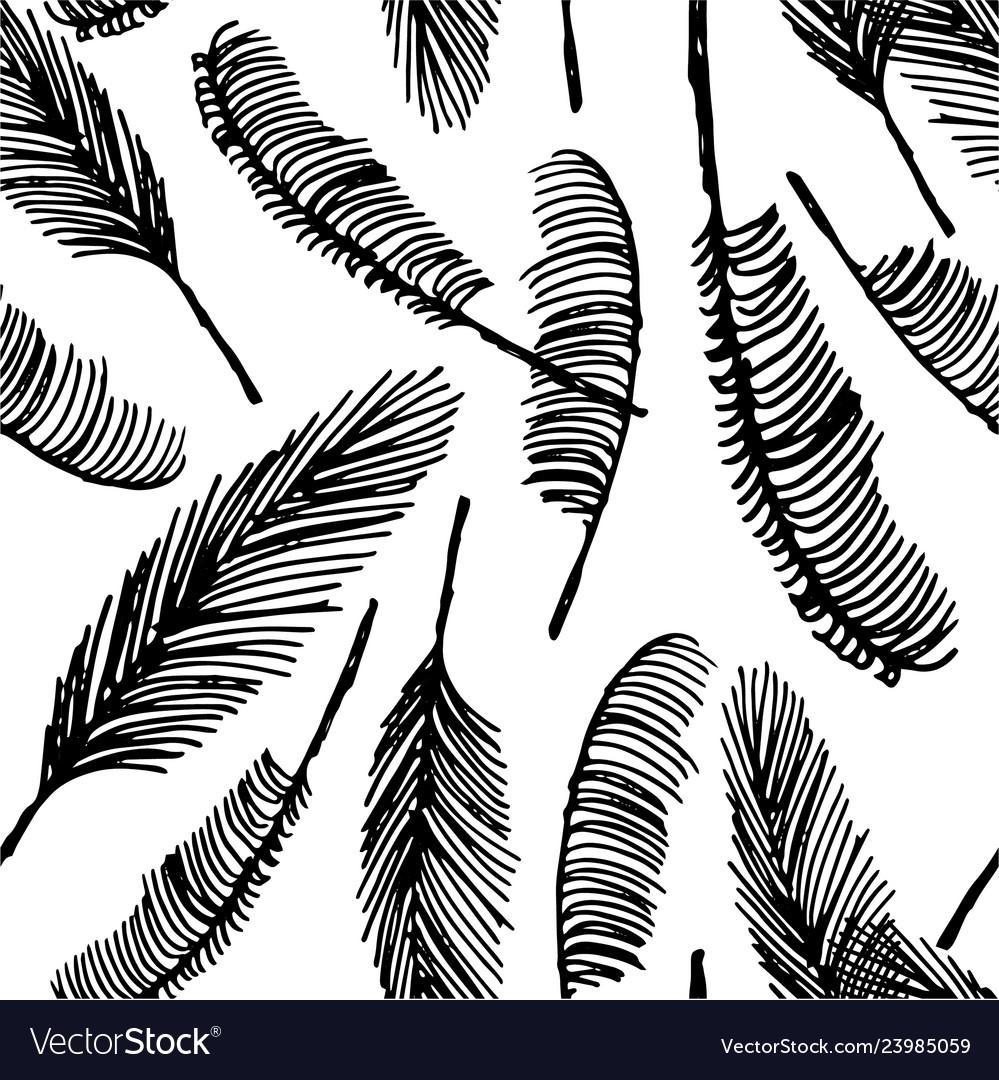 Hand drawn sketch of palm seamless pattern