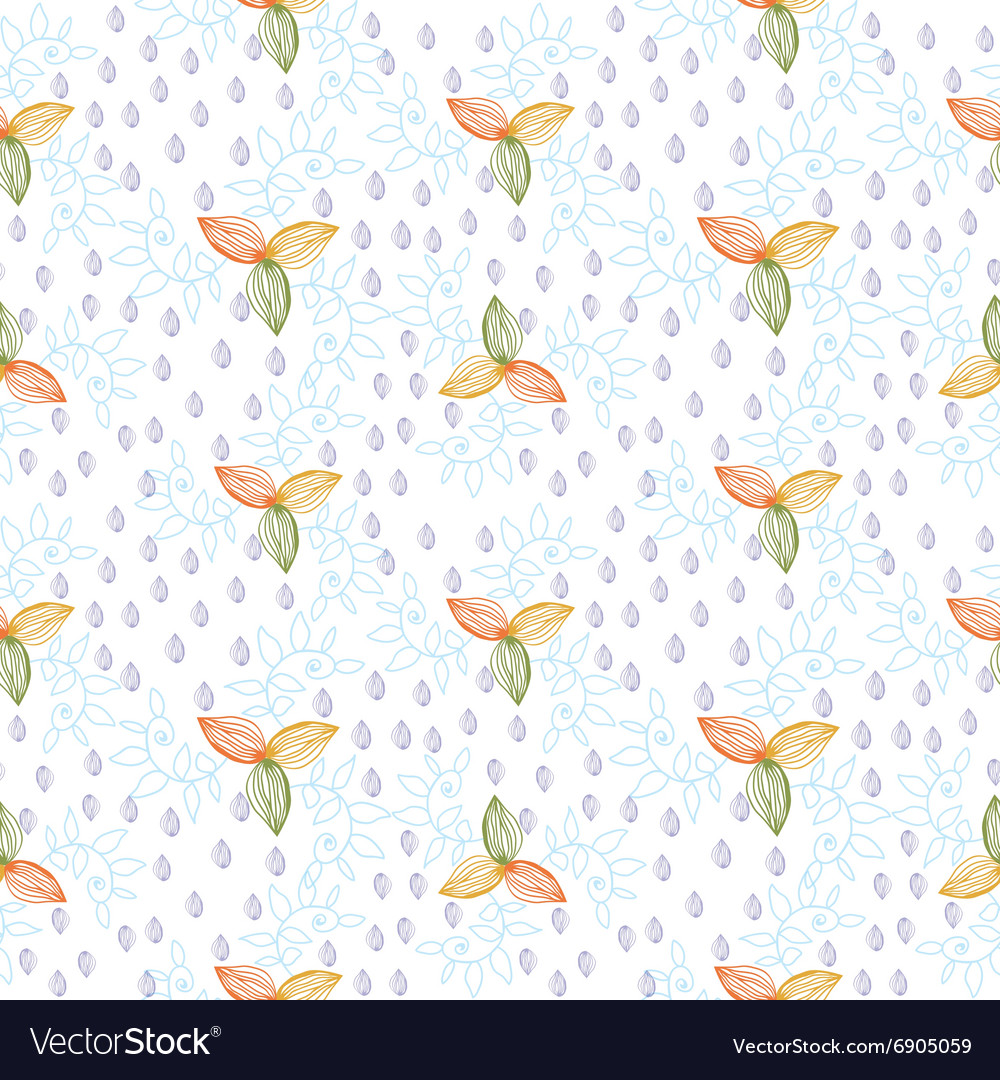 Leaves plant flower seamless pattern background vector image