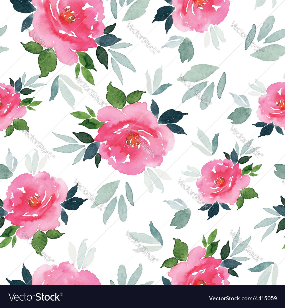 Seamless Pattern Watercolor Flowers Royalty Free Vector