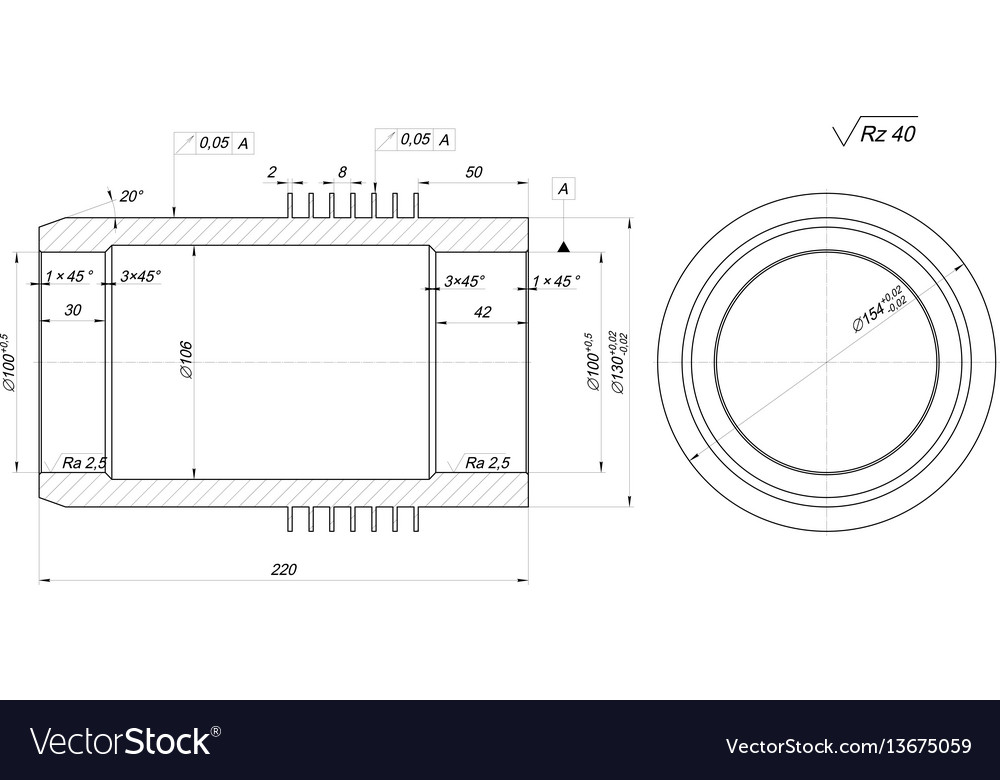 Shaft sketch engineering drawing with hatching vector image