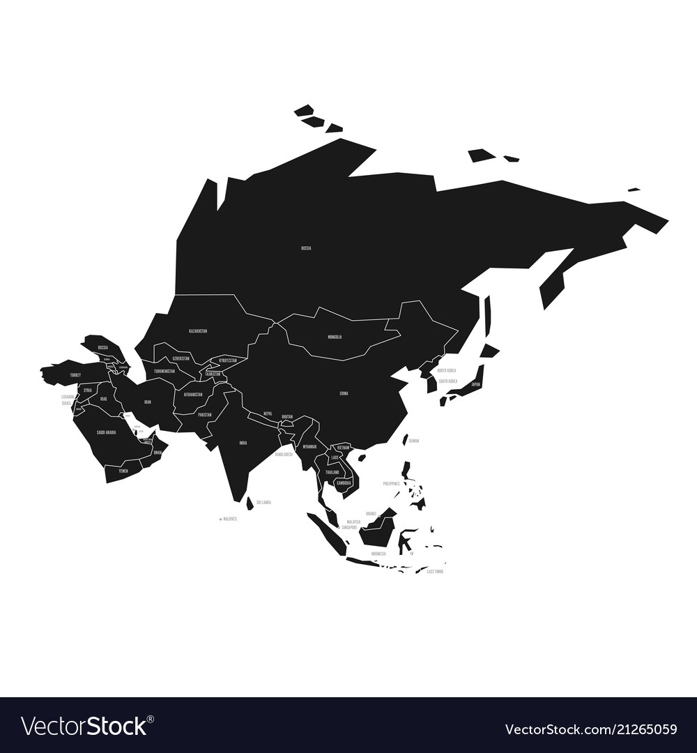 Black Map Of Asia.Simplified Schematic Map Of Asia Political