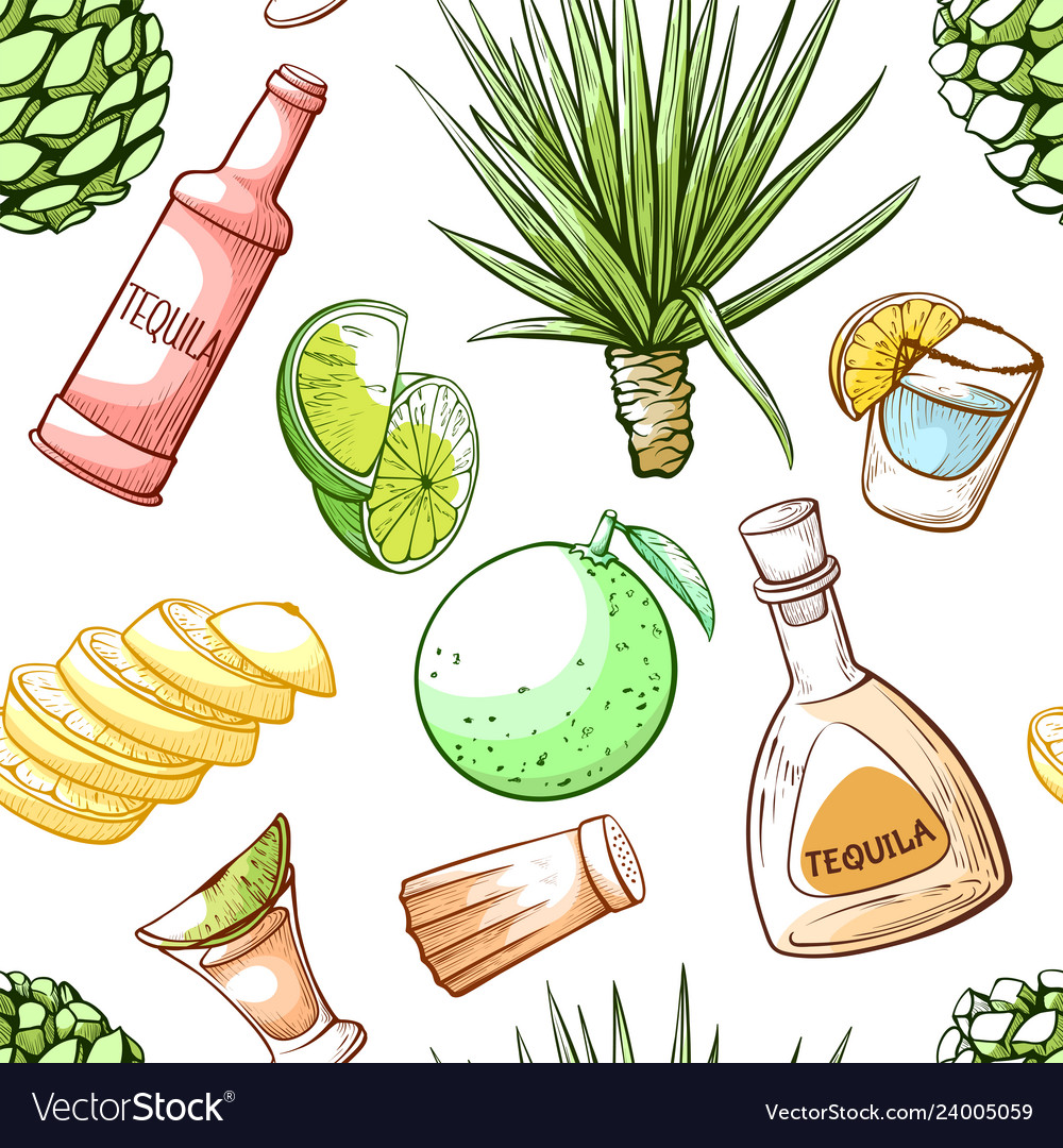 Tequila drink seamless pattern beverage bar