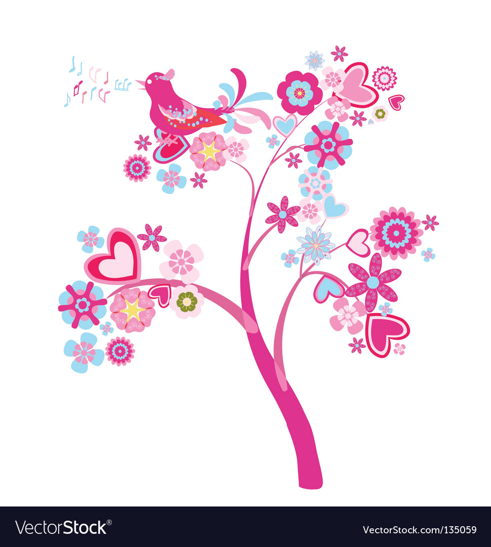 Tree of flowers vector image